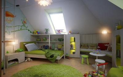 Gyerekszoba a tetőtérben - tetőtér ötlet, modern stílusban