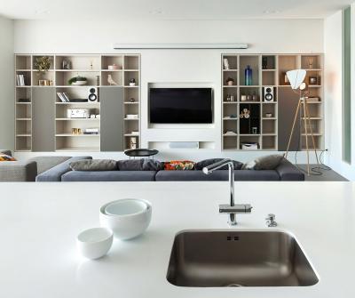 Konyha és nappali - nappali ötlet, modern stílusban