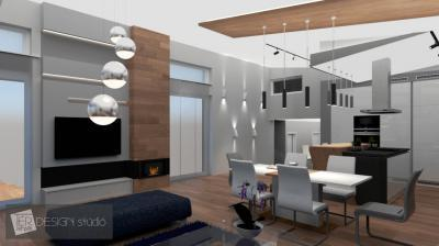 Látványos enteriőr design elemekkel - nappali ötlet, modern stílusban