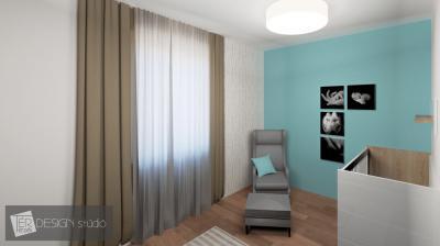 Babaszoba kék fallal - gyerekszoba ötlet, modern stílusban