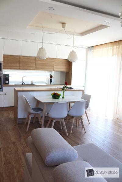 Egységes padlóburkolat a konyhában és a nappaliban - konyha / étkező ötlet, modern stílusban
