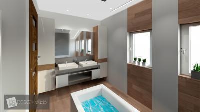 Szabadonálló kád a fürdőben - fürdő / WC ötlet, modern stílusban