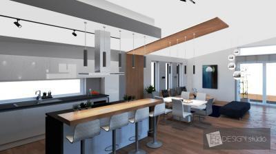 Tágas konyha lámpákkal - konyha / étkező ötlet, modern stílusban