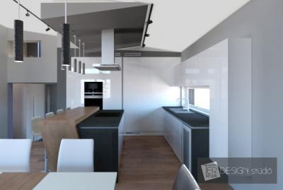 Látványos konyha konyhaszigettel - konyha / étkező ötlet, modern stílusban