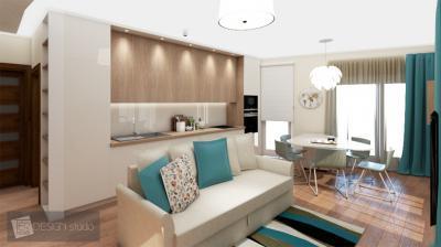 Kanapé a nappali és a konyha határán - konyha / étkező ötlet, modern stílusban