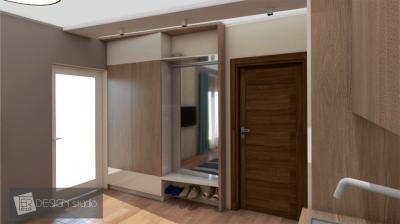 Kicsi előszoba egyedi fallal - előszoba ötlet, modern stílusban