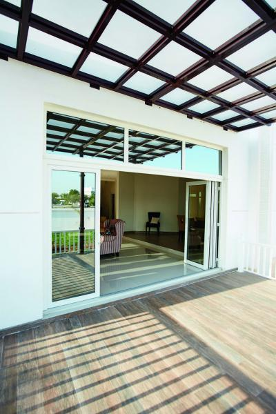 Harmonika ajtó a teraszra - erkély / terasz ötlet, modern stílusban