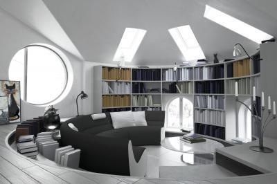 Tetőtéri és hajóablak a nappaliban - nappali ötlet, modern stílusban