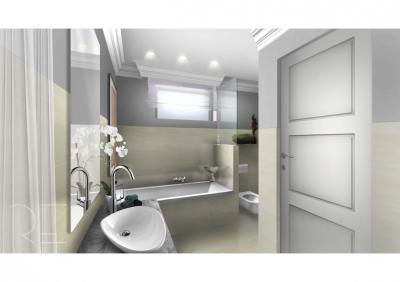 Fürdőszoba világos színekkel - fürdő / WC ötlet, modern stílusban