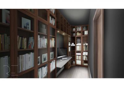 Mini dolgozószoba sok könyvvel - dolgozószoba ötlet, modern stílusban