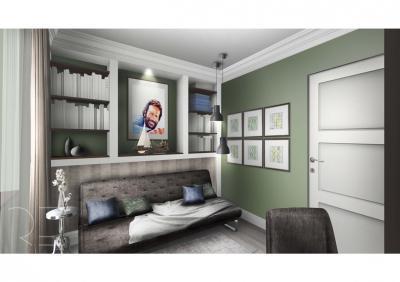 Dolgozószoba szürke fallal - dolgozószoba ötlet, modern stílusban