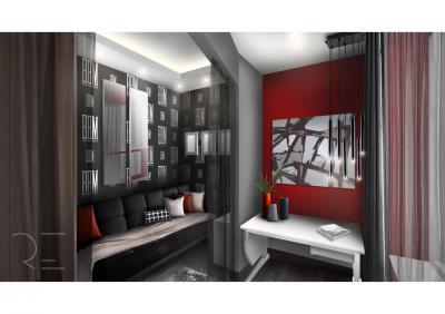 Térelválasztás függönnyel - nappali ötlet, modern stílusban