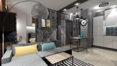 Kislakás nappalija hangulatos elemekkel - nappali ötlet, modern stílusban