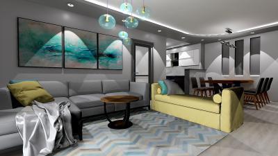 Szürke és kék színek a nappaliban - nappali ötlet, modern stílusban