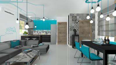 Kék részletek a konyha-nappali-étkezőben - konyha / étkező ötlet, modern stílusban