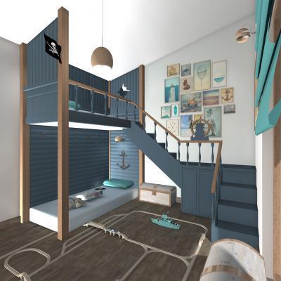 Galériaszerű emeletes ágy - gyerekszoba ötlet, modern stílusban