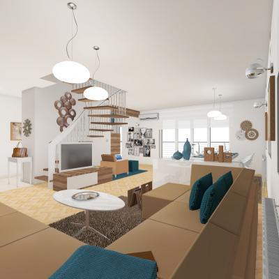 Hangulatos nappali konyhával - nappali ötlet, modern stílusban