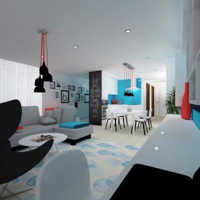 Hideg színek kevés pirossal - nappali ötlet, modern stílusban