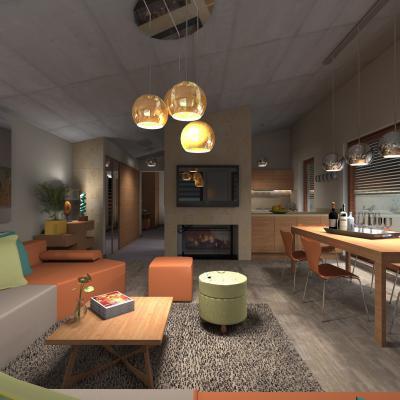 Nappali konyhával és meleg színekkel - nappali ötlet, modern stílusban