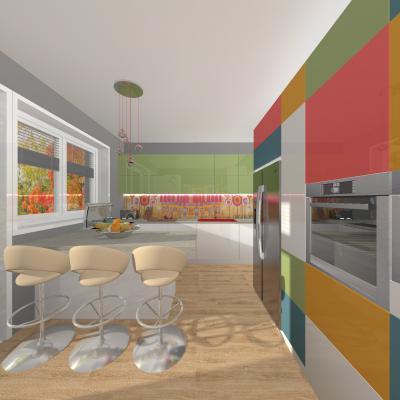 Színes felületek a konyhában - konyha / étkező ötlet, modern stílusban