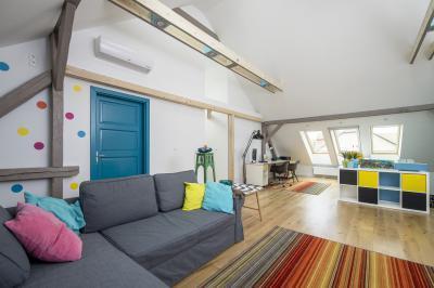 Tetőtéri ablakok a tető síkjában - nappali ötlet, modern stílusban