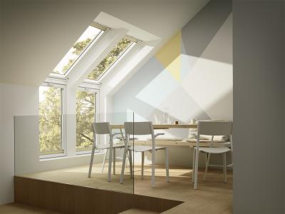 Tetőtéri ablakok kombinált beépítéssel - konyha / étkező ötlet, modern stílusban