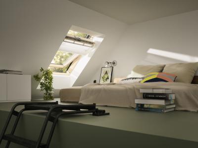 Tetőtéri ablakok belső árnyékolókkal - háló ötlet, modern stílusban