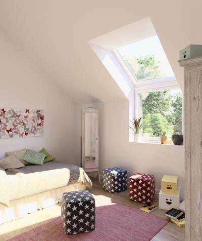 Sok fény tetőtéri ablakkal a gyerekszobában - tetőtér ötlet, modern stílusban