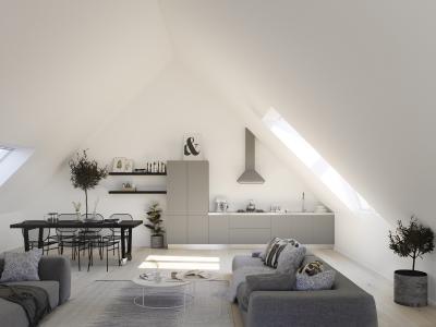 Természetes fény tetőtéri ablakokkal - nappali ötlet, modern stílusban