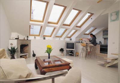 Hatalmas felület tetőtéri ablakokkal - nappali ötlet, modern stílusban
