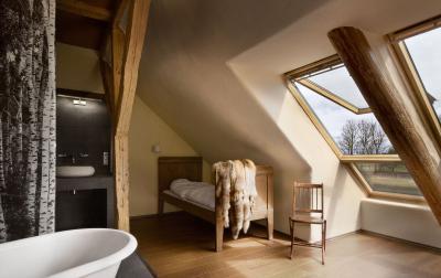 Sok természetes fény tetőtéri ablakkal - fürdő / WC ötlet, rusztikus stílusban