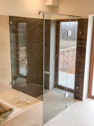 Kádra ültetett üveg zuhanykabin - fürdő / WC ötlet, modern stílusban