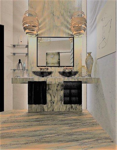 Exkluzív Fürdőszoba - fürdő / WC ötlet, modern stílusban