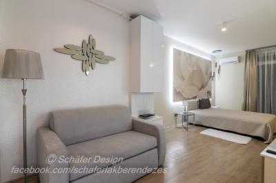 Romantikus stúdió apartman6 - háló ötlet, modern stílusban