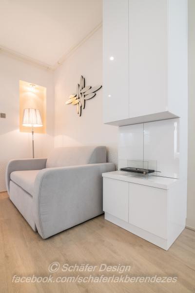 Romantikus stúdió apartman8 - nappali ötlet, modern stílusban