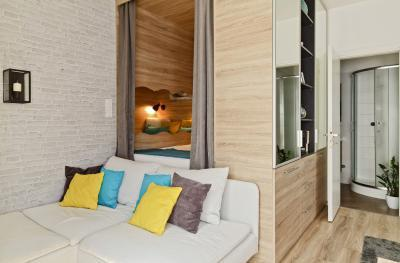 Péceli kis lakás10 - nappali ötlet, modern stílusban