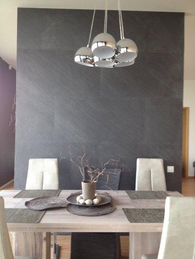 Slate Design D.Black LiteStone kőfurnér falburkolat - konyha / étkező ötlet