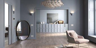 Falban futó, rejtett tolóajtók - nappali ötlet, modern stílusban