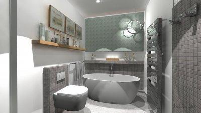 Fürdőszoba - fürdő / WC ötlet, modern stílusban