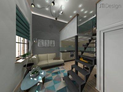 Galériás lakás - nappali ötlet, modern stílusban