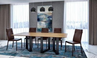 Cubus asztal, fekete acél lábbal - konyha / étkező ötlet