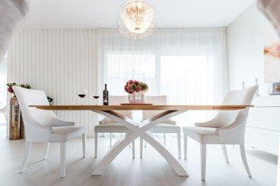 X lábú asztal, tölgy és festett fehér, nyitható - konyha / étkező ötlet