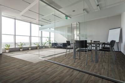 Látványos padlóburkolat irodába - dolgozószoba ötlet, modern stílusban