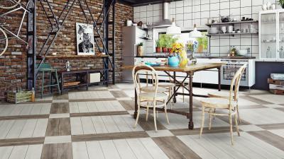 Lapra szerelt vinyl padló a loft lakásban felhasználva - konyha / étkező ötlet, modern stílusban