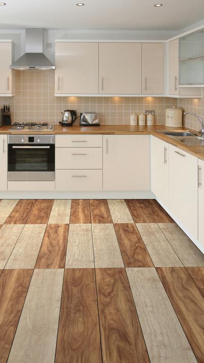 Látványos vinyl padló a konyhában - konyha / étkező ötlet, modern stílusban