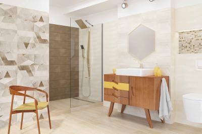 Bézs-barna burkolat a fürdőszobában - fürdő / WC ötlet