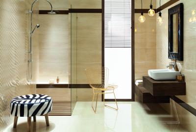 Elegáns fürdőszoba bézs burkolattal - fürdő / WC ötlet, modern stílusban
