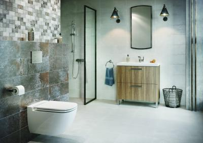 Szürke és natúr tónusok a fürdőben - fürdő / WC ötlet, modern stílusban