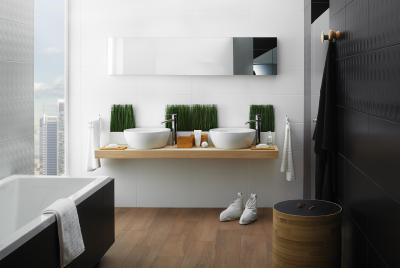Modern fürdő fekete csempével - fürdő / WC ötlet, modern stílusban