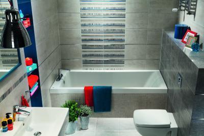 Kicsi fürdőszoba szürke burkolattal - fürdő / WC ötlet, modern stílusban